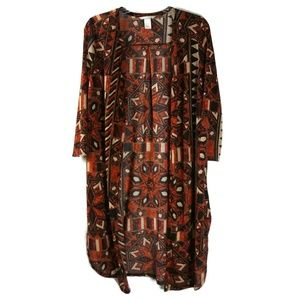 Medium H&M Aztec Orange Open Front Cardigan